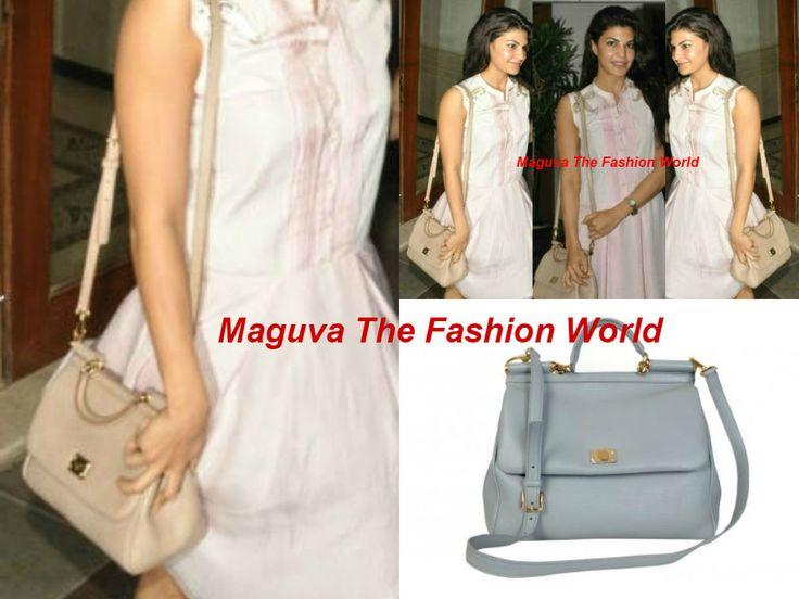 acqueline Fernandez  in a pink simple Sanchita drop waist dress with Dolce & Gabbana Bag