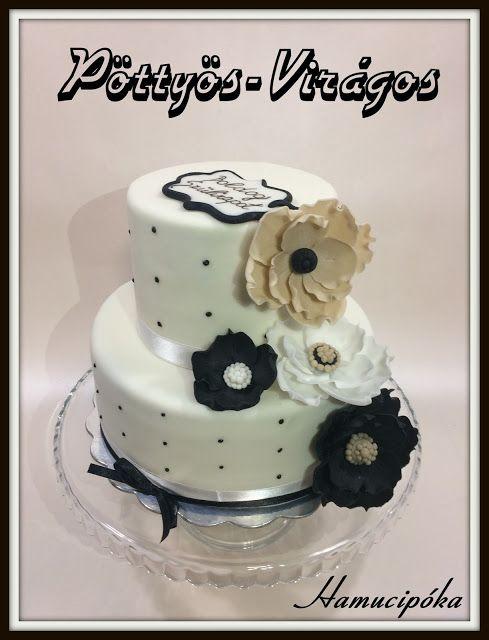 Hamucipóka: Virágos-pöttyös... fekete-fehér torta
