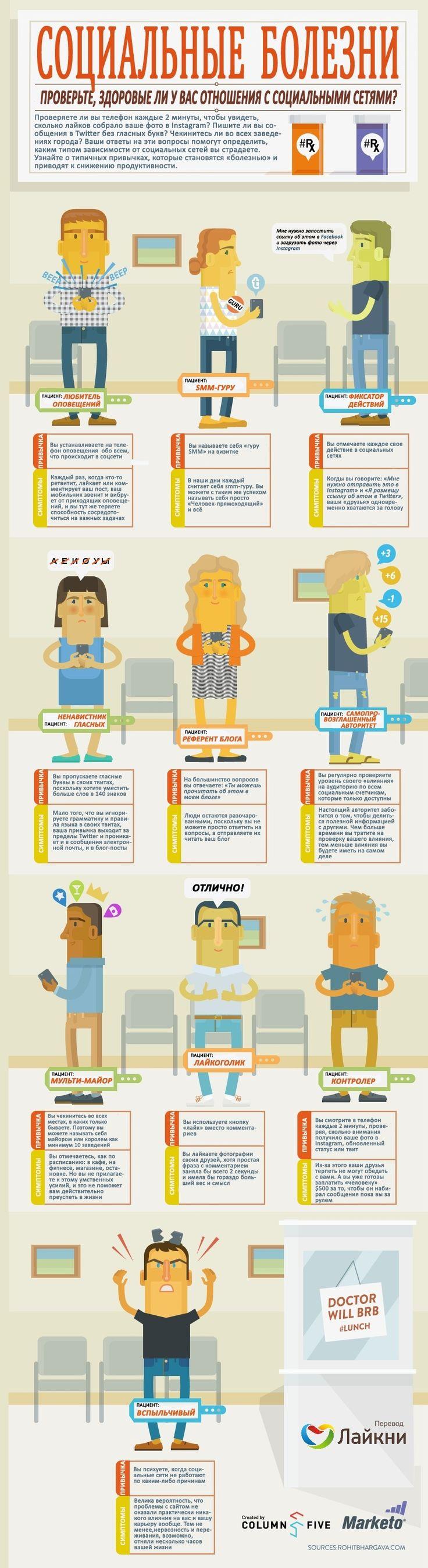 Проверьте, здоровые ли у вас отношения с социальными сетями. Представленная ниже инфографика позволит выявить 10 типичных привычек, которые превращаются в «социальные болезни».#инфографика