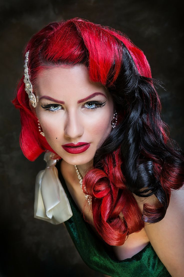 red and black dyed hair with classic
