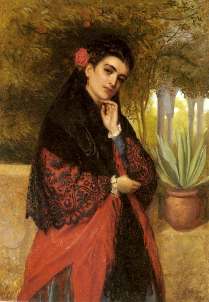 John Bagnold Burgess(1830-1897) A Spanish Beauty in a Red and Black Lace Shawl Oil on canvas 1872