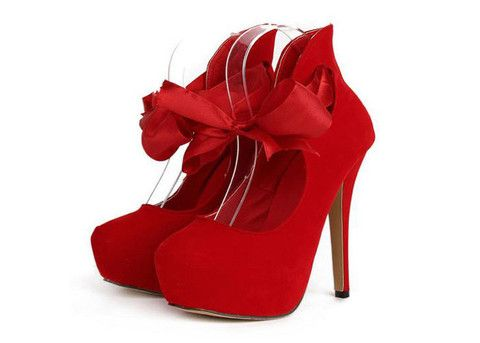 Elegant Women's RED Pumps With Ribbon and Sexy High Heel Design $39.99 – PEDICURE & SHOES 2 GO, LLC