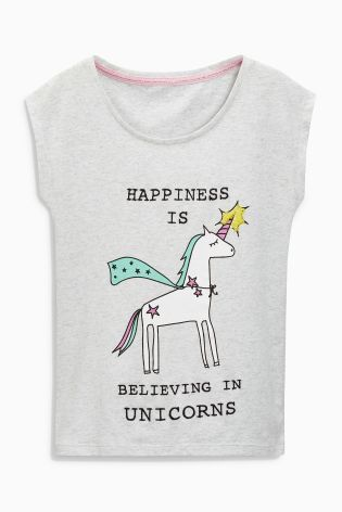 Buy Grey Unicorn T-Shirt (3-16yrs) online today at Next: United States of America