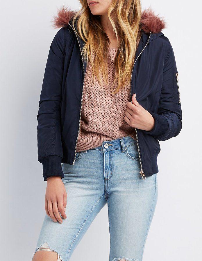 Charlotte Russe Faux Fur-Trim Hooded Bomber Jacket