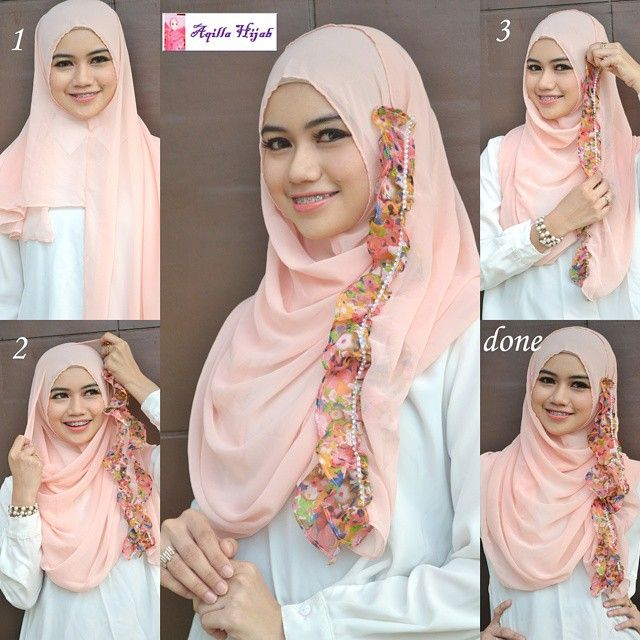 This hijab is so cute and you can create so many looks with that floral side touch it has, you can wear it as a floral head band or just layer it on the side like this look. To start…