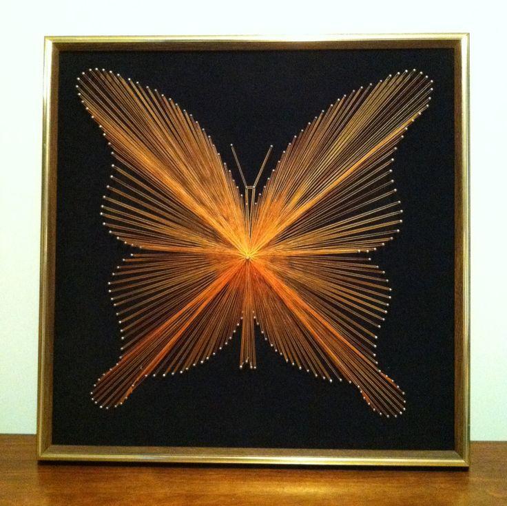 Custom Framed 70s String Art Butterfly 10