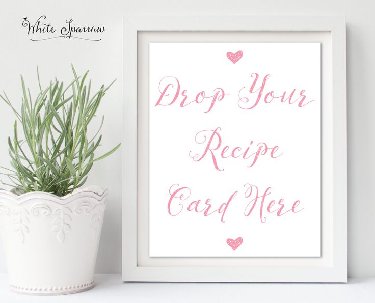 Drop Your Recipe Card Here Bridal Shower Sign, pink Bridal shower, Bridal shower sign, Bridal shower decoration, wedding shower, recipe card by WhiteSparrowPrints on Etsy