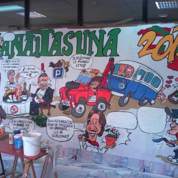 "Instagram photo by @rockflores via ink361.com Adding more details to Peña Anaitasuna banner or ""pancarta"". San Fermin, 2013."