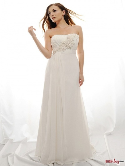 Elegant Flower Embellished Court Train Chiffon Informal/Simple Wedding Dresses