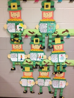 These leprechauns holding a pot of gold (with a creative writing assignment) make a cute hallways display for St. Patrick's Day.