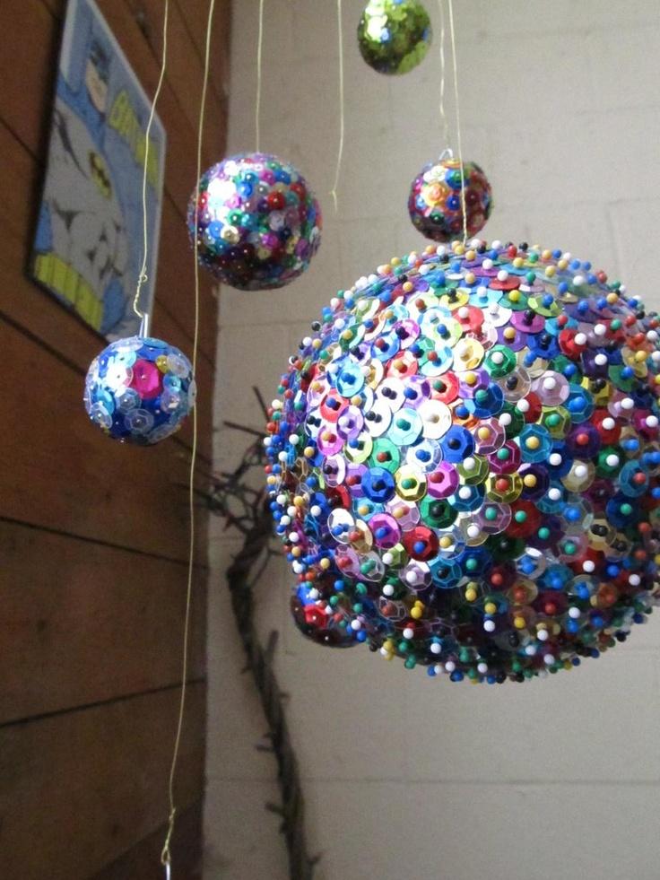 Sequins, pins, and styrofoam balls Christmas ball