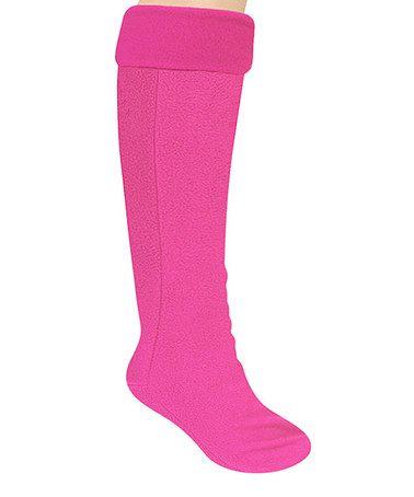 Look at this #zulilyfind! Fuchsia Frida Fleece Basic Tall Rain Boot Liner #zulilyfinds