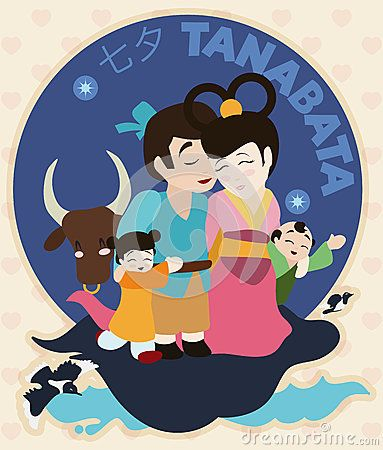 Cute family with their children, ox and magpies celebrating Tanabata (or Evening…