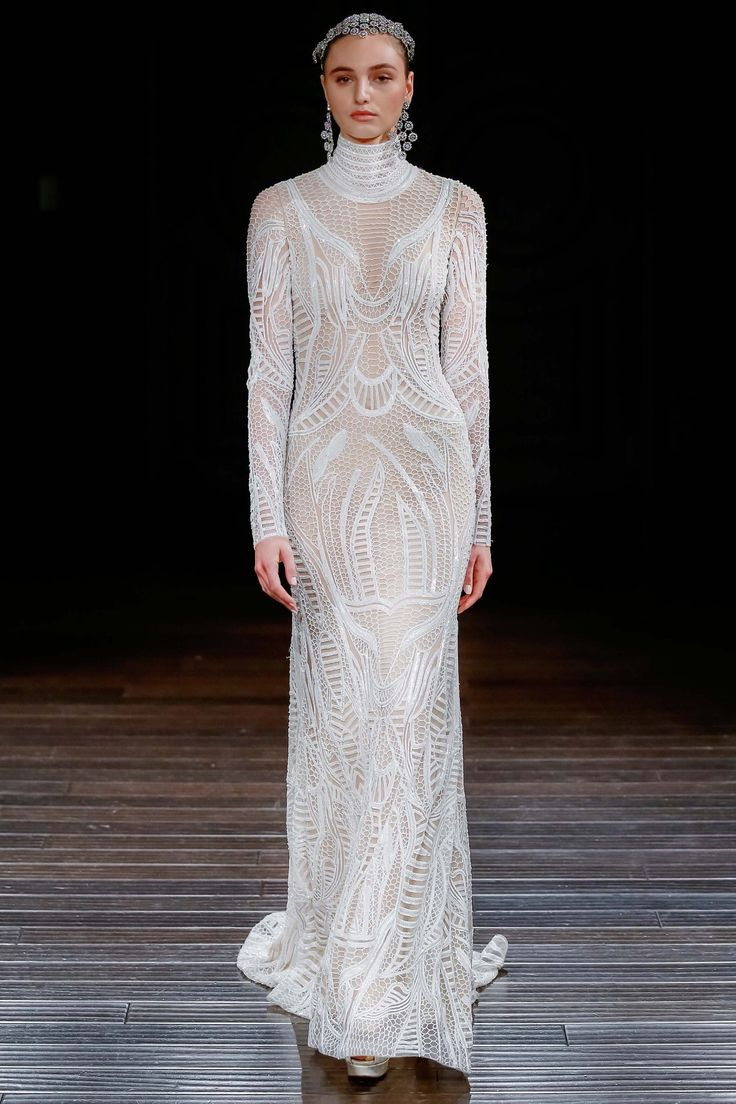 White Long Sleeve Turtle Neck Gown by Naeem Khan, Look #10