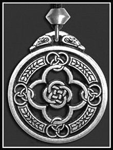 Celtic Warrior's Shield Necklace  This Shield of protection is a Celtic design based on the numbers 3 and 4, which enable magical powers to come into play that help provide circles of protection and other important esoteric forces to enhance well being.