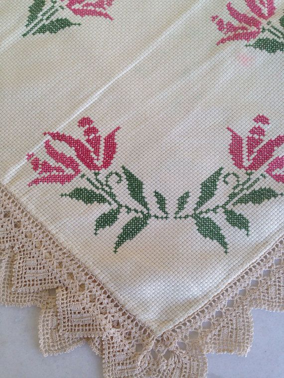 Vintage table cloth hand embroidery cross stitch  with crochet lace from Greece  on Etsy, 22,00€
