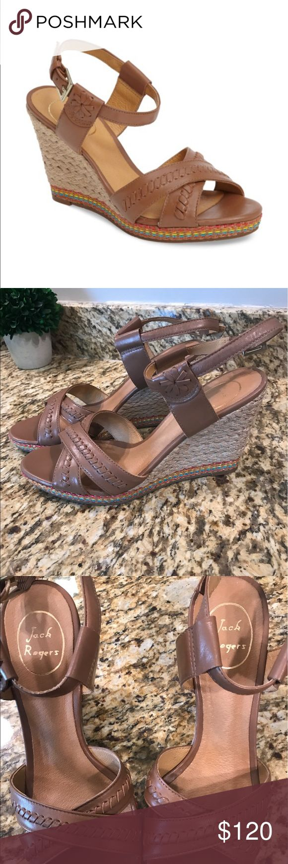 Jack Rogers Abbey Wedge Pristine condition. Wore 1 time on Easter. Not really my style so it just wasn't a good match for me. Very comfortable. Purchased at Nordstrom in early summer 2017. These exact shoes are still available on Nordstrom website for 187 full price! Jack Rogers Shoes Espadrilles