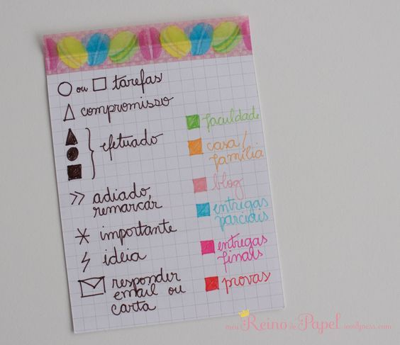Exemplo de símbolos do Bullet Journal e código de cores - Bullet journal symbols and color coding key: