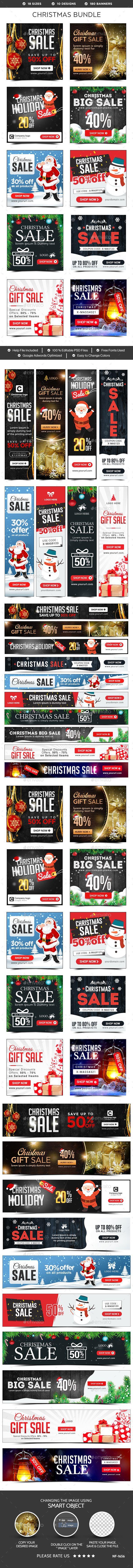 Christmas Banners Template PSD Bundle - 10 Sets - 180 Banners #xmas #ads