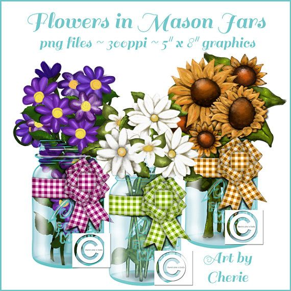 Mason Jars With Flowers Graphics, Instant Download, PNG Files, Flower Graphics, Canning Jar Graphics, Mason Ball Canning Jars, Jar Art