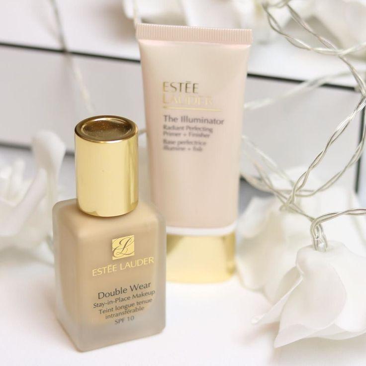 Estée Lauder Double Wear Foundation and The Illuminator Primer. High coverage foundation. Illuminating face primer. High end makeup.