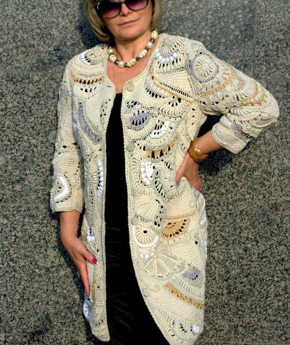 knitted coat, crochet cardigan, knitted long jacket handmade from cotton, linen, viscose. Coat- spring, summer,fall.