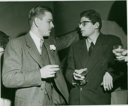 Lucien Carr and Allen Ginsberg at Lucien's wedding, January 4, 1952