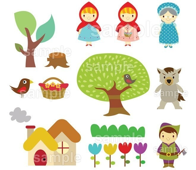 Clip Art Set  B17 - NEW Little Red Riding Hood. $7.00, via Etsy.