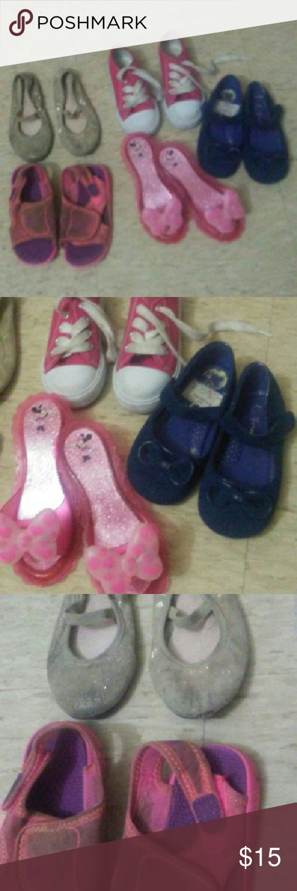 Shoe bundle Toddler size 8 girls shoes , they are all size 8 except the Minnie mouse high heels those are like a 9/10. None of them are ripped up all in working condition. The Nike Velcro ones are still very usable play shoes. The blue dress shoes were used once then the gold ballet flats are nice , the red sneakers were used once . Ask any questions u might have thanks Nike Shoes