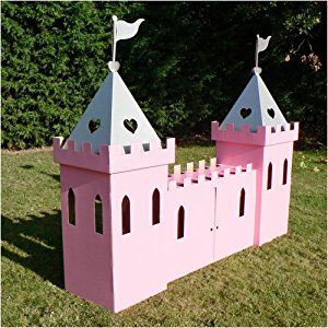Kid-eco Large Cardboard Princess Castle Playhouse Pink Silver : PaddlingPools.org.uk