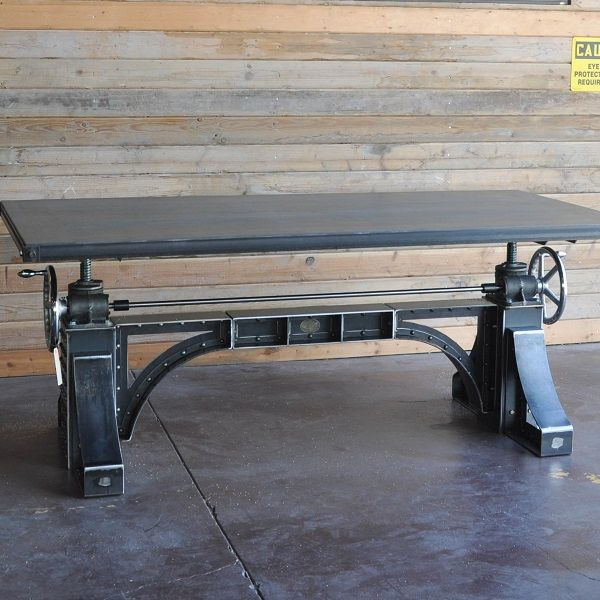Crank bronx table in natural steel by vintage industrial for Industrial crank table