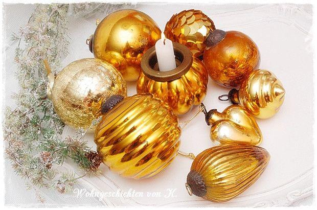10 Christbaumkugeln gold  von Wohngeschichten von K. auf DaWanda.com