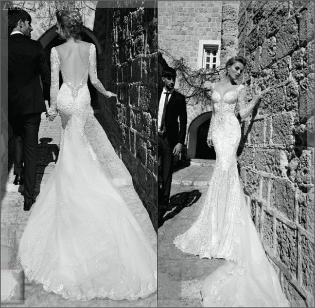 long sleeve wedding dress black and white