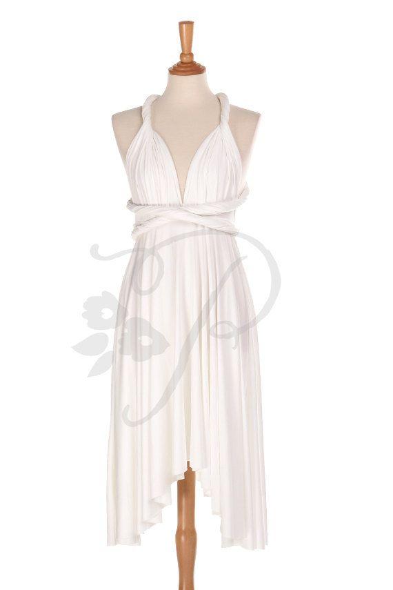De Dama de honor vestido infinito blanco rodilla longitud