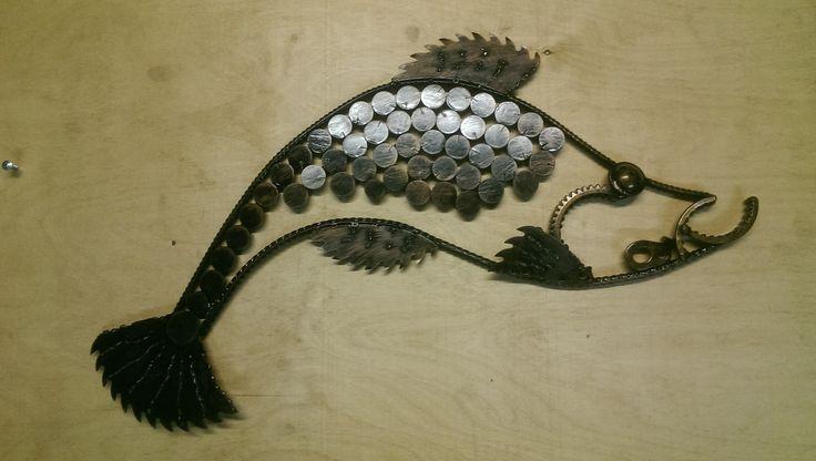 Recycle art,artwelding fish metalart fish Рыба.Ресайкл Арт.600х350  Черная эмаль,медно золотая патина. От Мастерской Дмитрия Митрофанова #vmetalle Можем повторить для Вас!