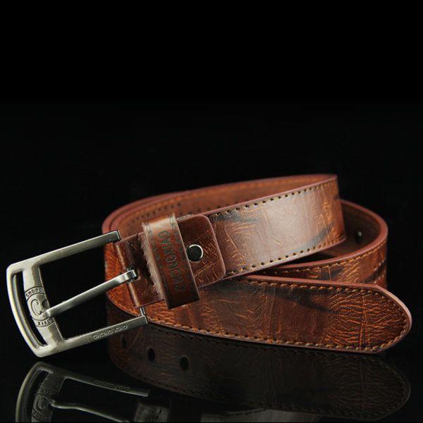110CM Men Retro Cowboy Leather Belt Leisure Wild Hollow Rivet Punk Pin Belt Waistband Strips