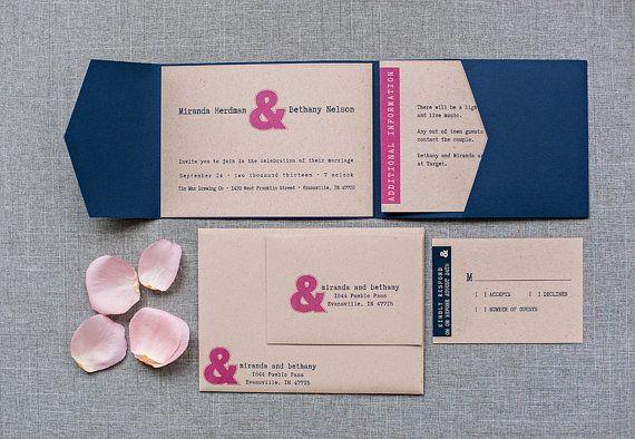 Modern Unique Wedding Invitation Pink Navy and Kraft by LamaWorks