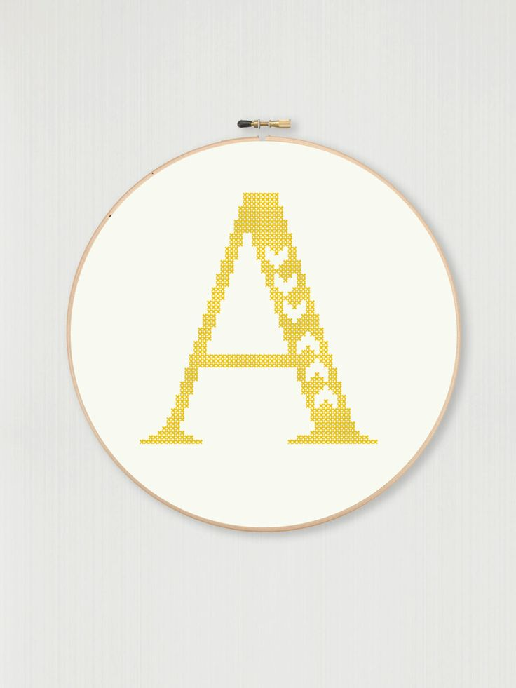 Cross stitch letter A pattern with chevron by LittleHouseBliss