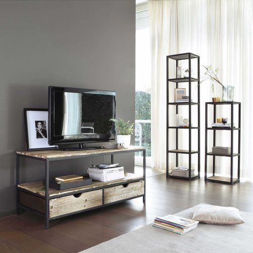Solid wood and metal industrial TV unit in black W 117cm - £169.90