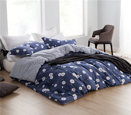 Daisy Mae Twin XL Comforter - Features white daisies with yellow center on navy blue backdrop.