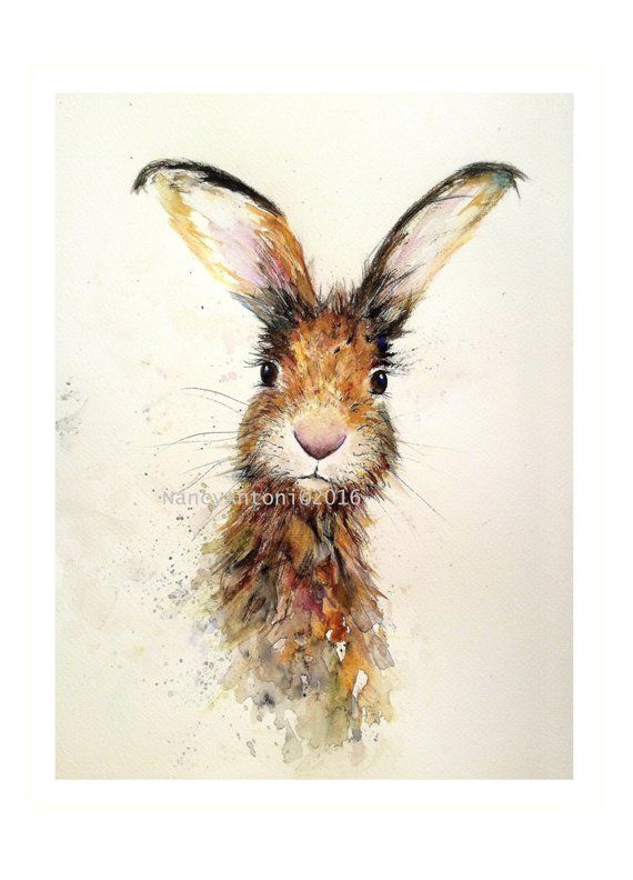 Cute hare 15 print of my original watercolour by Nancy Antoni