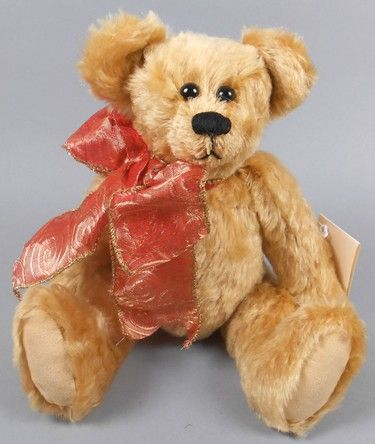 """Adopt a Bear todayCaramel by: Sandra Hippensteel 11"""" fully jointed mohair bear, poly filled patterned ribbon bow. Original tag."""