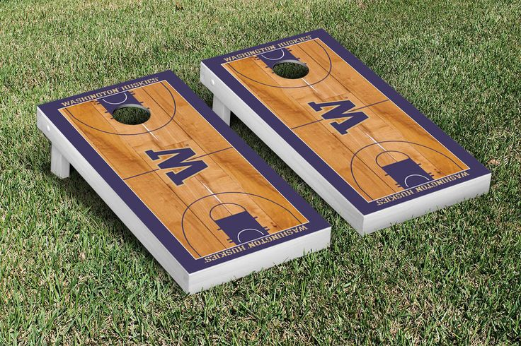 Washington Huskies Basketball Court Cornhole Game Set
