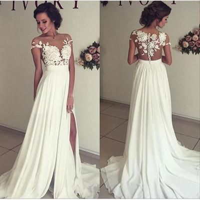 A-line Lace Appliqued Cap Sleeves Prom Dresses,Ivory Chiffon Beach Wedding Dresses