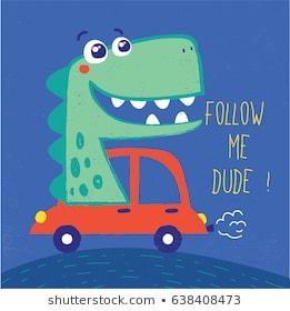 cute dinosaur illustration with car drawn as vector for baby fashion print  – applique designs