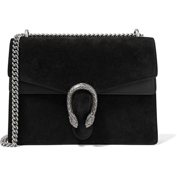 Gucci Dionysus medium suede shoulder bag ($2,500) ❤ liked on Polyvore featuring bags, handbags, shoulder bags, black, gucci, clasp handbag, shoulder bag purse, shoulder hand bags and gucci purse