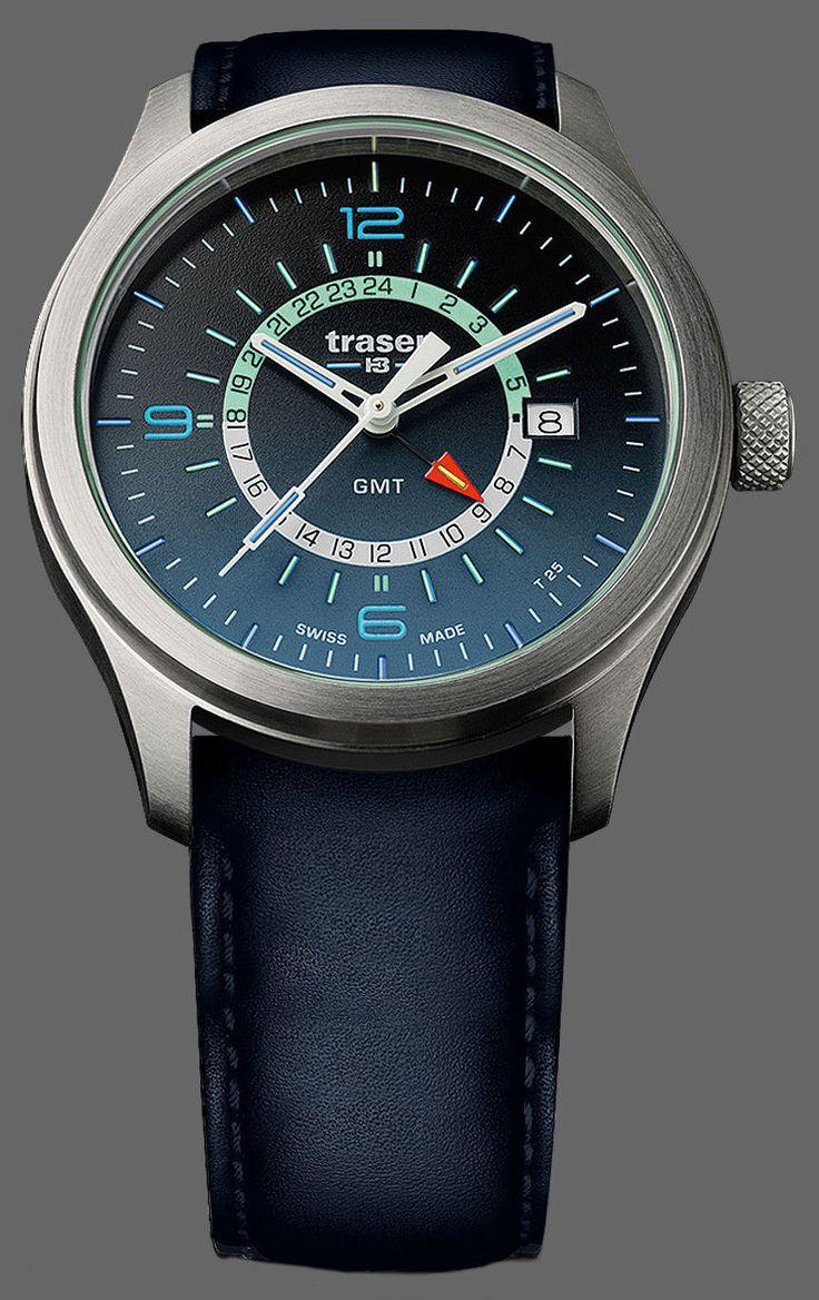 Traser Tritium Watch - Novelties Collection - P59 Aurora GMT Blue w/ Leather | eBay