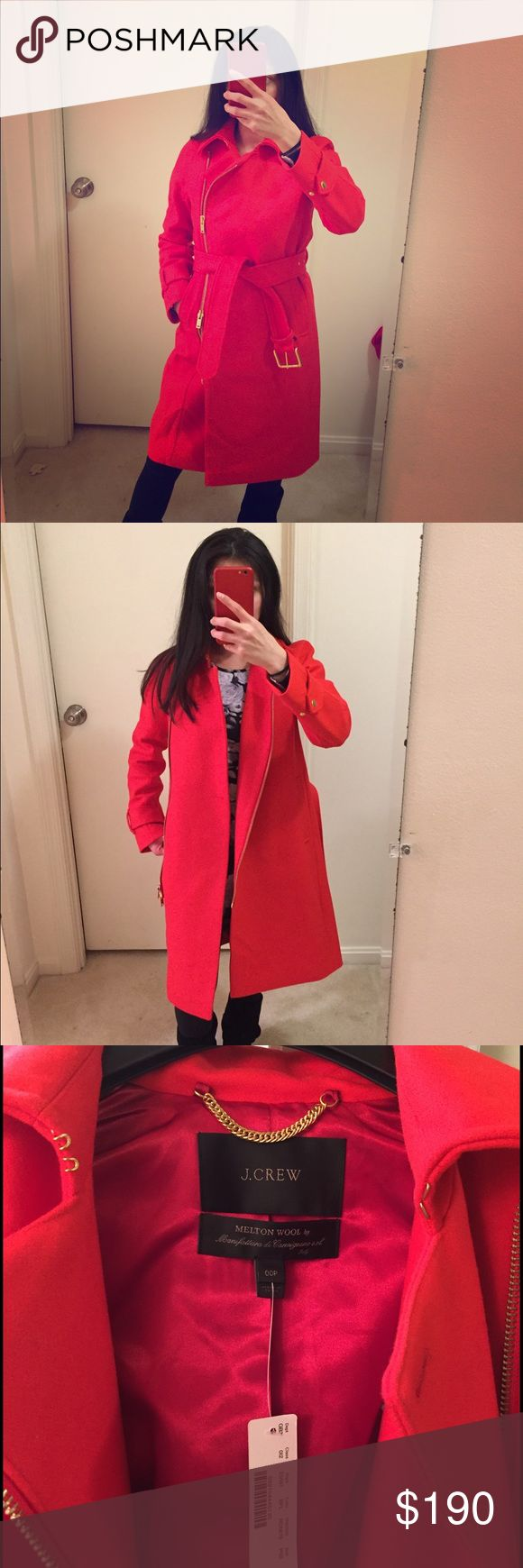 Petite Belted wool trench coat Beautiful vibrant red, soft wool, timeless. Looks great over any outfit. Keeps you warm with style! J. Crew Jackets & Coats Trench Coats