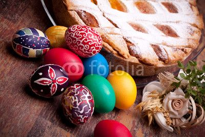 Easter Card With Pastiera And Colorful Eggs