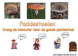 Digibordles: Paddestoelen: breng de kabouter naar de goede paddestoel. http://www.digibordonderbouw.nl/index.php/themas/herfst/kabouters/viewcategory/169